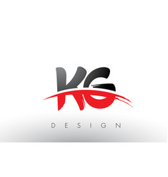 Kg k g brush logo letters with red and black vector