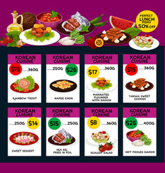 Korean cuisine menu design vector