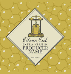 label for olive oil with oil press and barrel vector image
