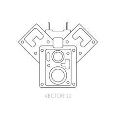 Line flat icon car repair part block of vector