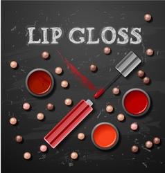 Lipstick lip gloss decorative cosmetics make up vector