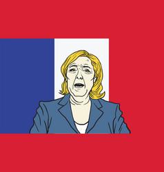 Marine le pen cartoon on france flag background vector