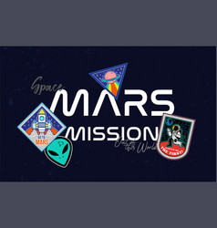 mars mission patches print vector image
