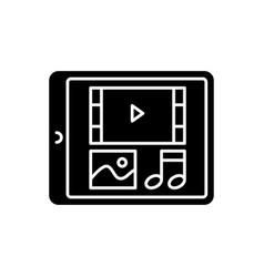 Multimedia black glyph icon vector