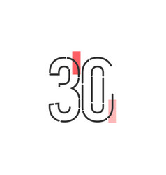 Number 30 template design design for anniversary vector