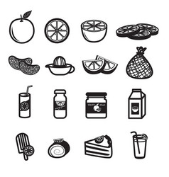 orange fruit and product icons set vector image