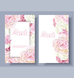 Peony pink banners vector