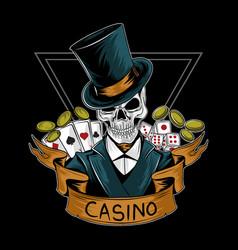 royal casino gambler skull editable layers vector image