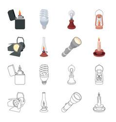 Searchlight kerosene lamp candle flashlight vector