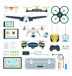 Set copter and drone flat vector