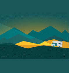 shining caravan in nature with big mountains vector image