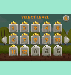 stone level selection screen game ui set on the vector image