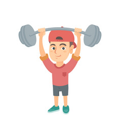 Strong caucasian boy lifting heavy weight barbell vector