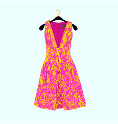Summer dress with floral print vector
