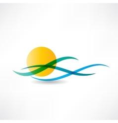 Sun sea abstractly icon vector