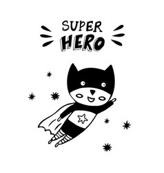 Superhero in a black costume on a white background vector