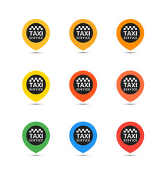 taxi set icons coloful vector image