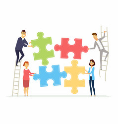 Teamwork and cooperation for business - modern vector