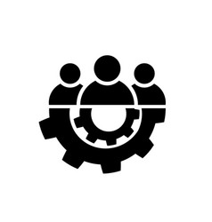teamwork icon in flat style team and gear symbol vector image