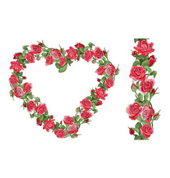 template with roses and reamless border isolated vector image