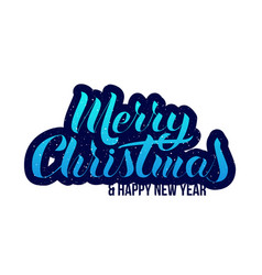thick lettering merry christmas happy new year vector image