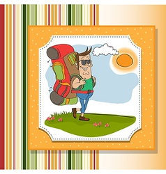 Tourist man traveling with backpack vector
