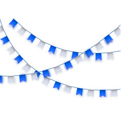 Traditional blue and white bunting flags on white vector