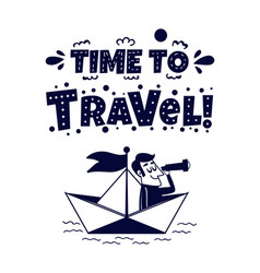 travel icon happy man traveling by paper boat vector image