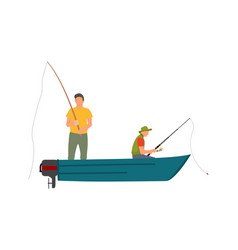 Two fishermen with fishing rods on motor boat vector