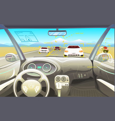 Vehicle salon driver view dashboard control in a vector