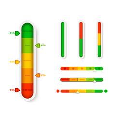 Vertical color level indicator progress bar vector