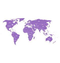 violet political world map with country borders vector image