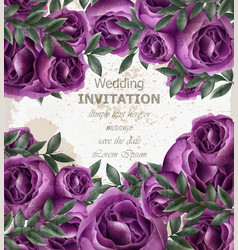 Wedding invitation roses card beautiful vector