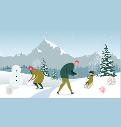 Winter holiday family happy pastime outdoors vector