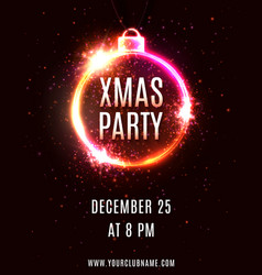 xmas party poster design template vector image