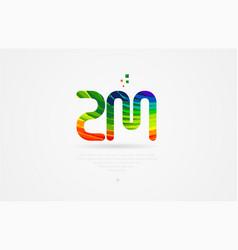 Zm z m rainbow colored alphabet letter logo vector