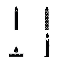 black candles icon set vector image