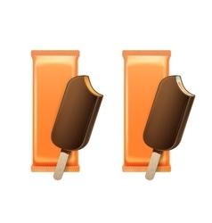 Caramel Ice Cream in Choc Glaze with Orange Foil vector image