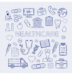 Health care set on the notebook sheet vector image vector image