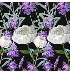 lavender and peony with leaves seamless pattern on vector image