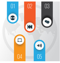 music icons set collection of chatting megaphone vector image vector image
