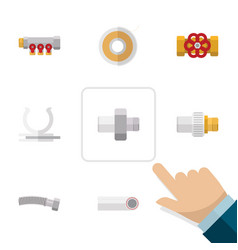 flat icon industry set of pump valve pipework vector image