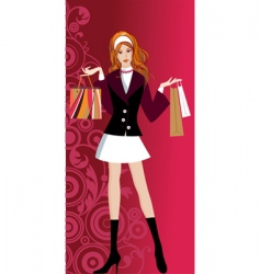 glam shopping girl vector image vector image