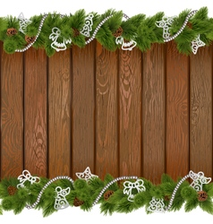 Seamless Christmas Board with White Decorations vector image vector image