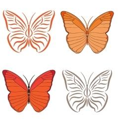 butterfly orange vector image vector image