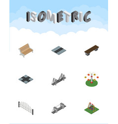 Isometric city set of swing attraction path seat vector