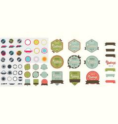 set of retro labels vector image
