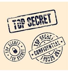top secret stamp set vector image vector image