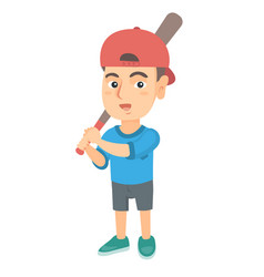 young caucasian boy playing baseball vector image vector image