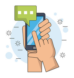 color background with hands holding smartphone vector image vector image
